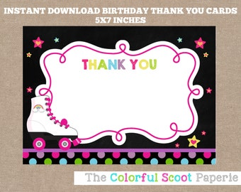 INSTANT DOWNLOAD, Roller Skating Thank You Cards, Roller Skating Thank You Notes, Skating Thank You Cards (#550)