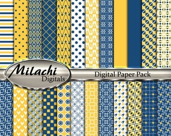 "60% OFF SALE Midnight Blue and Sunglow digital paper pack, 8.5"" x 11"" scrapbook papers, backgrounds -Commercial Use - Instant Download -M259"
