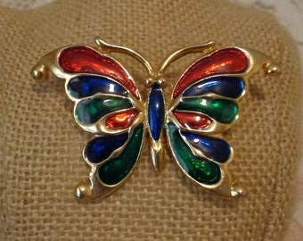Vintage enamel butterfly brooch, pin, colorful butterfly pin
