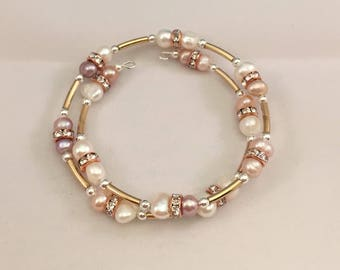 Wire Wrap Bracelet Fresh water Pearls in Champagne White and Rose Gold tones Handcrafted 5-6mm Beads NEW