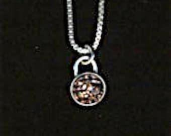 Bronze or Silver druzy pendant sterling silver bezel set peweter color small stone necklace