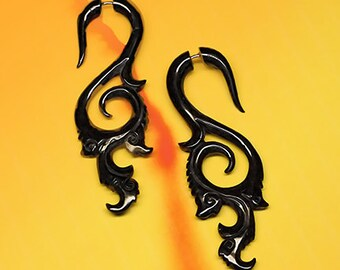 Tribal Earrings, Fake Gauge, Coastal Curls, Split Expanders, Handmade, Organic, Faux, Cheaters, Plugs, Horn - H10