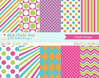 candy digital papers candies printable - Candy Shoppe Digital Papers