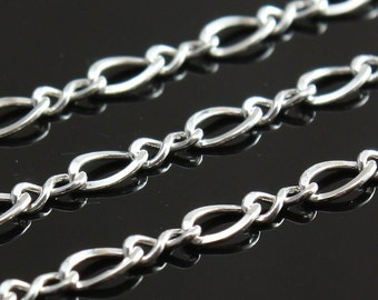 Sterling Silver Chain by the Foot - Medium Figure 8 Chain 4mm x 2.5mm - Select Lengths to 3 Feet
