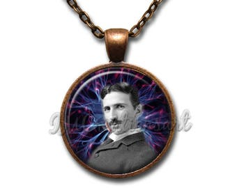 Nikola Tesla Inventor Glass Dome Pendant or with Chain Link Necklace VT121