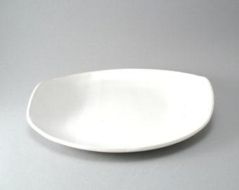 Ceramic Serving Platter-Pottery Plate-Tableware-Serving Dish-White-Slab Built-Classic White Glaze
