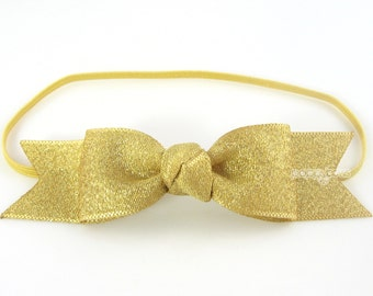 Gold Baby Headband, gold headband, gold bow headband, metallic gold, baby headband, girls headbands, fast shipping, infant headband, newborn