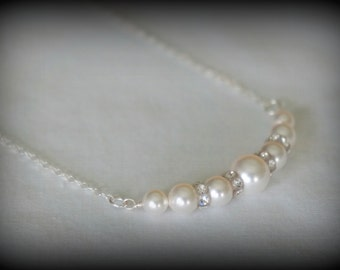 Swarovski Pearl Strand Necklace, Pearl Bridesmaid Necklace, Wedding Necklace, Bridesmaid Gift, Pearl and Crystal Bridal Necklace,