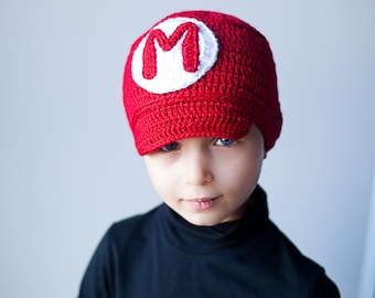 Super Mario Hat, Super Mario costume, Toddler boy Halloween costume, Halloween costume, toddler hat, toddler winter hat, Mario Inspired hat