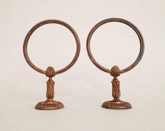Pair of Antique Bronze Towel Holder - Bronze Towel Ring