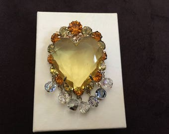 Vintage Crystal Jonquil Heart with Jonquil Yellow and Topaz Rhinestones  Brooch 1228