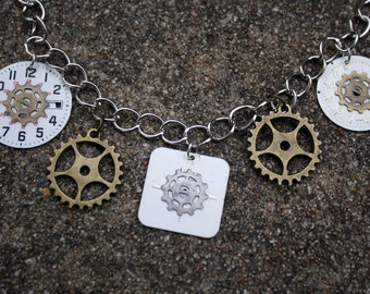 Steampunk Necklace w/Gears and Clockfaces