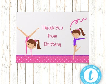 Gymnast Thank You Cards | Printable PDF or JPEG | Templett | KBI459TY