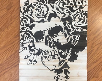 Handmade Grateful Dead Skull and Roses Wood Wall Art