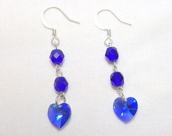 September Sapphire Blue Crystal Heart Earrings