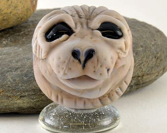 SEAL head sculpture focal glass lampwork bead, Izzybeads SRA