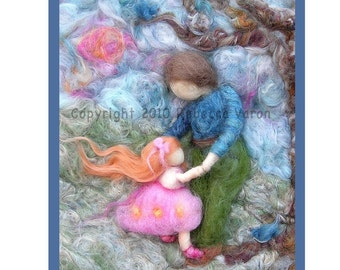 Printed Note Card - First Dance-image from wool painting -  Waldorf inspired greeting card