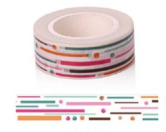Washi tape graphics in bright colors - pretty masking colorful tape 10 m