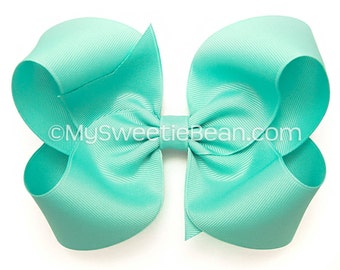 Robin's Egg Blue Hair Bow,  Light Turquoise 6 inch Boutique Bow for Girls, Extra Large Bow for Women, Jewelry Box Blue Hair Bow for Toddlers