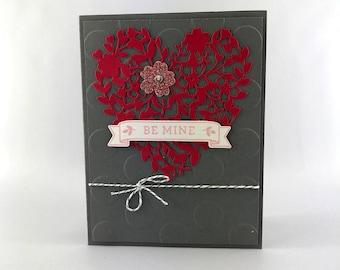 Heureux - carte à la main estampillé - carte de la Saint-Valentin - Bloomin ' coeur - fait main - carte mon Valentine - de la Saint-Valentin Love You