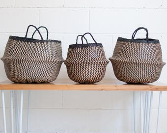 Noir Stripes Seagrass Belly Basket - Rice Baskets - Seagrass Basket - Storage Basket - Plant Basket - ZigZag Basket
