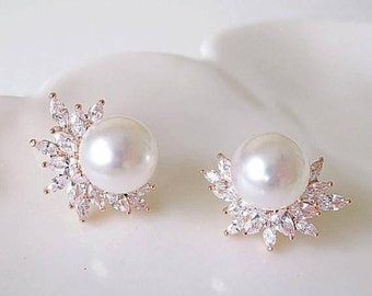 1920s Bridal Earrings Rose Gold Wedding Earrings Simulated pearl marquise shaped high quality cubic zirconia leaf earrings in deco pattern
