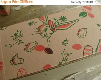 ONSALE Two Part Old Antique Easter Pink Cardboard Candy Box
