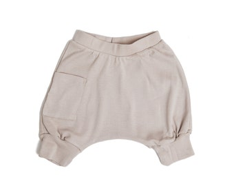 Baby Shorts - Baby Clothes, <<8 Days Delivery To US>>  Baby Boy Harem Shorts, Organic Baby Shorts, Boy Baby Harem Shorts - Mocha
