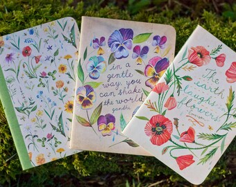 Floral Mini Notebook Trio | Journals | Katie Daisy