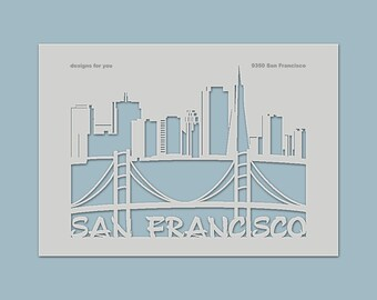 "Stencil ""San Francisco"" for e.g. textiles, fabric, shirts for men or women, canvases, T-shirts, decorations, windows, boxes"