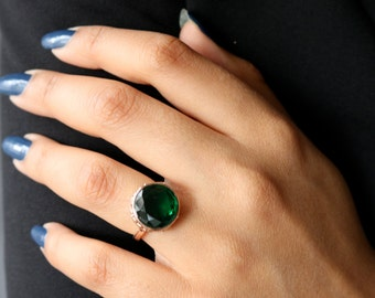 SALE!!SALE!!18k Rose Gold Plated Ring/Rose Gold Ring/Emerald Rose Gold Ring/Green Stone Ring/Emerald Statement Ring/Gift For Her