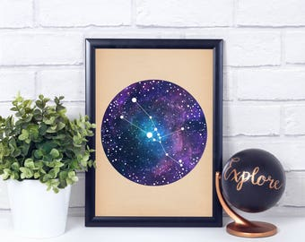 Taurus Art, Taurus Zodiac, Zodiac Print, Zodiac Art, Taurus Constellation, Wall Art Prints, Art Print Poster