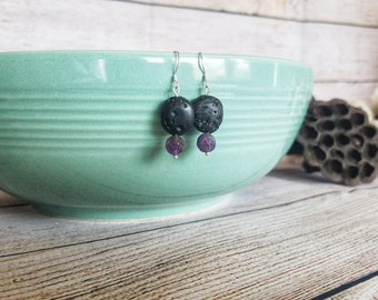 Lava and amethyst earrings, diffuser earrings, aromatherapy earrings, essential oil diffuser jewelry