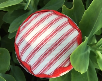 Pincushion in Vintage  Jello Mold with Red and White Ticking Fabric