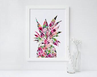 DRUCKBARE Kunst Blumen rosa Ananas Ananas Dekor Ananas Kunst Druck Ananas Wand Kunst Home Dekor Wohnung Dekor Sommer Wohnheim Dekor