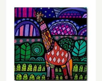 50% SALE- Giraffe Animal Art Tile Ceramic Coaster Print of painting by Heather Galler Gift (HG480)