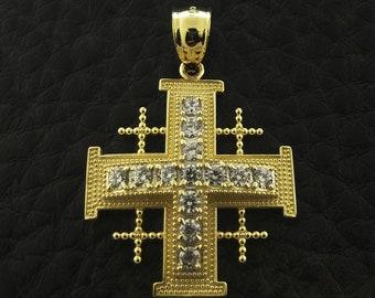 14k Yellow Gold Jerusalem Crusaders Cross Pendant, 5 Greek Crosses Medieval Religious Pendant, Crusaders Cross Pendant, Gold Jerusalem Cross