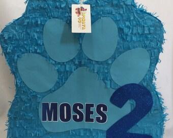 Blue Puppy Paw Pinata Customize Name & Age FREE