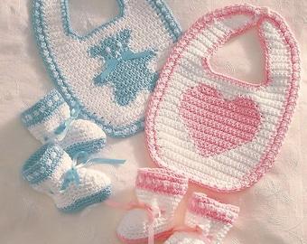Babies Crochet Bib and Matching Bootees, PDF, Digital Download