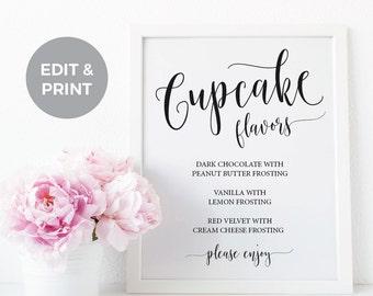 Cupcake Flavors Wedding Reception Sign, Printable Wedding Cupcake Sign, Cupcake flavors sign, Wedding Template Cupcake Sign