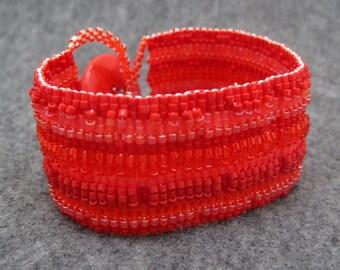 Beaded Cuff Bracelet - Red Striped Embellished by randomcreative on Etsy