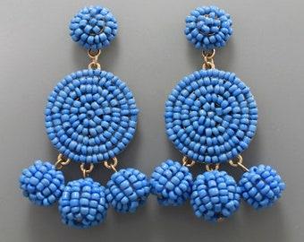 Blue Seed Bead Disk Drop Earrings