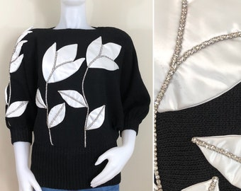 80s Shenanigans Black Batwing Sweater with 3D White Satin Tulips and Rhinestones, Size Small to Medium