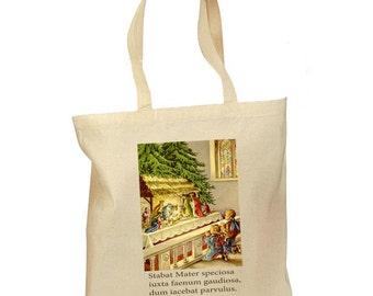 Christmas Gift Bag - Catholic Tote Bag - Christmas Nativity - Retro Gift Canvas - Traditional Catholic - Vintage Latin Catholic 2 Sizes