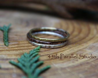 Hammered Mixed Metal Stacking Ring Set, Brass, Copper, Sterling Silver Stack Rings, Stacking Ring Set, Stackable Rings, Stacking Ring Set
