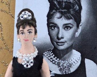 Audrey Hepburn Doll Miniature Art Collectible in Black Dress