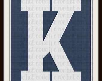 Letter K TWIN Afghan, C2C Graph, Written Word Chart