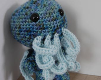 Cthulhu with Triangle symbol on belly, crochet amigurumi