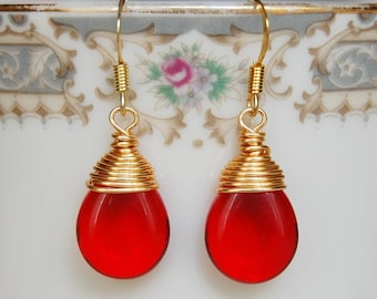 Red Earrings , Red Gold Earrings , Christmas Earrings , Wire Wrapped Earrings