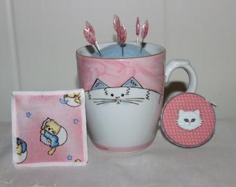 White Cat Mug Wool Felt Pincushion Organic Catnip Cat SacToy and Matching Retractable Tape Measure Set